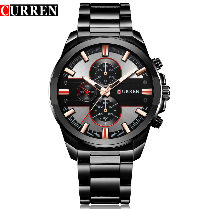 <font><b>CURREN</b></font> TOP Brand Luxury Men Wrist Watch Fashion Analog Sports Quartz Watch Stainless Steel Male Clock Horloges Mannens Relojes image