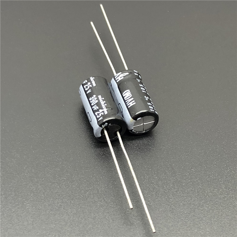 10pcs/100pcs 390uF 25V NICHICON HV Series 8x15 High Ripple Current Low Impedance 25V390uF Aluminum Electrolytic Capacitor