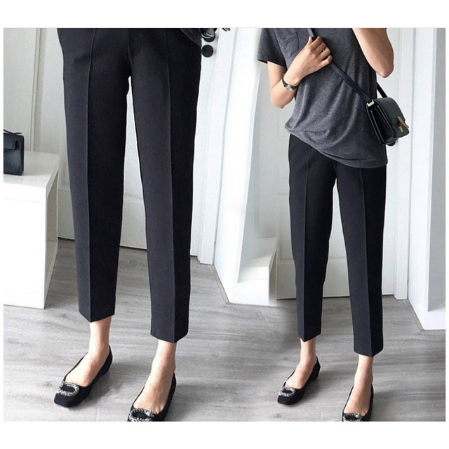 03df8ead9c75b Black Pregnancy Clothes Overalls Ninth Pants Office Maternity Wear for Pregnant  Women Trousers Nursing Prop Belly Legging New