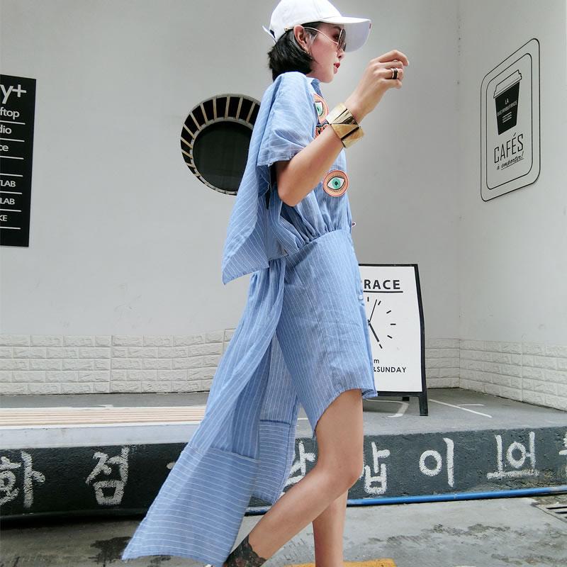 Rue Blouses Col Printemps Chemises De down Imprimer Femelle Turn xitao Lq093 Blue Lâche Irrégulière Corée 2018 Rayé Mode Femmes naHq7XW