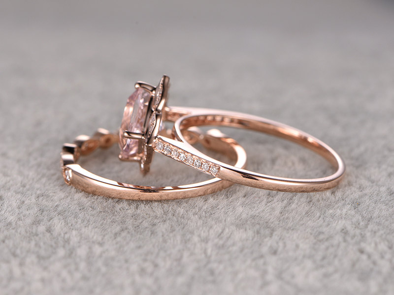 ring women ring 2pcs 8mm 25ct round cut morganite bridal set engagement ring 14k rose gold bague femme wedding set in rings from jewelry accessories on - Morganite Wedding Ring Set
