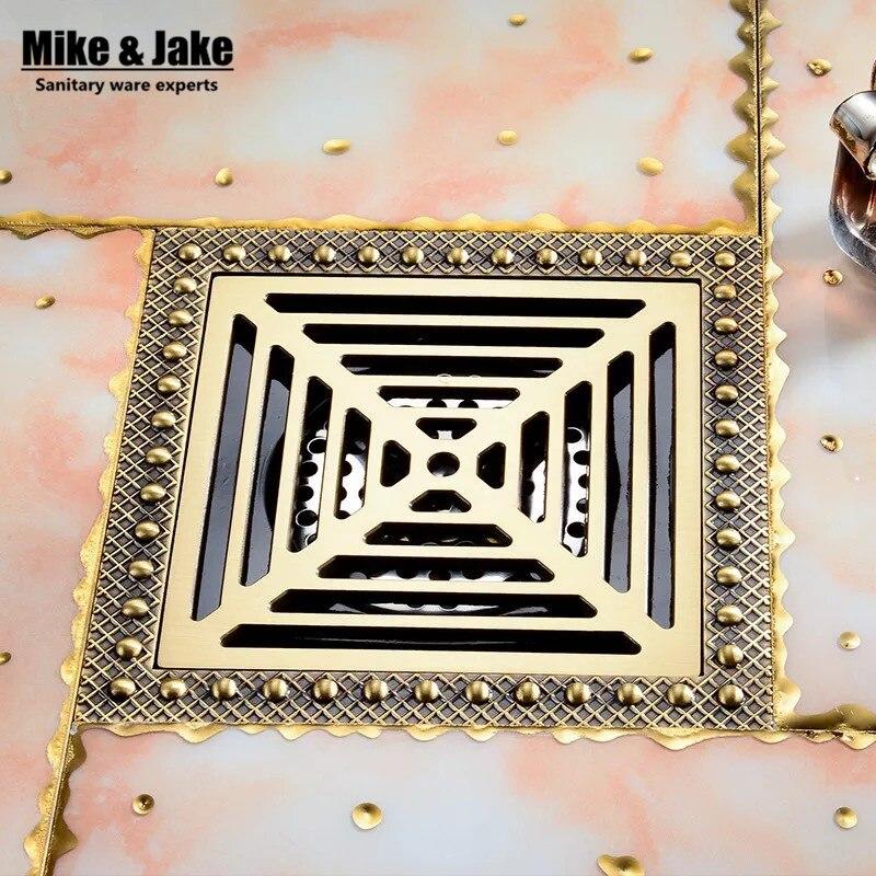 15 cm * 15 cm en laiton déodorant salle de bains douche sol Drain Art sculpté couverture déchets égouttoir carré salle de bains salle de douche drains