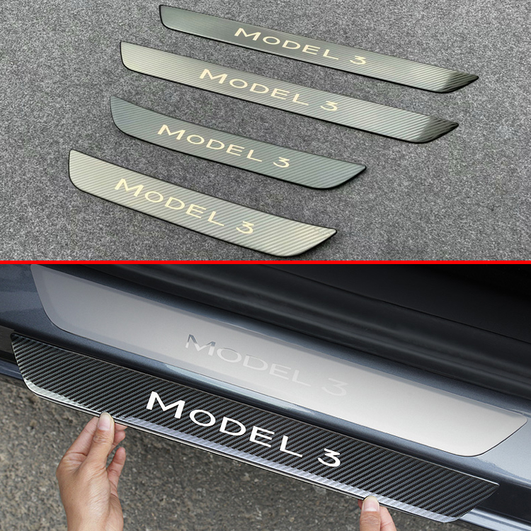 For Tesla Model 3 2017 2018 2019 Stainless Steel Ouside Door Sill Panel Scuff Plate Kick Step Trim Cover Protector