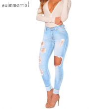 2018 New Blue Bleach Wash Distressed Rock Denim Jeans Women Casual High Waist Button Fly Ripped Pants Skinny Jeans