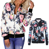Women Basic Coats Autumn And Winter Floral Printed Bomber Jacket 2017 Vintage Long Sleeve Loose Female Coat Casual Girls Outwear 3