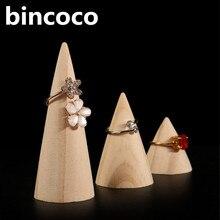 Bincoco Jewelry Дисплей стенд древесины Jewelrys Дисплей стойки для магазина деревянные кольца Дисплей Подставка для хранения три размера 10 шт. A много