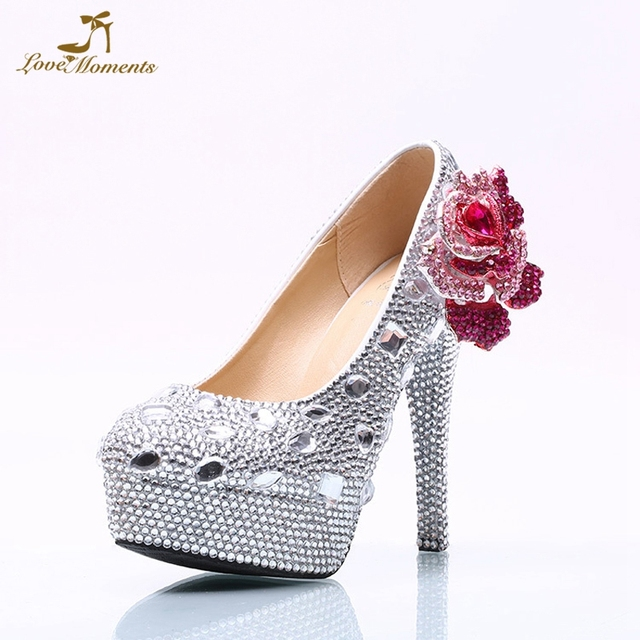 1d952f4f0 Gorgeous Silver Rhinestone Bridesmaid Shoes Plus Size Wedding Bridal Shoes  Purple Crystal Flower Mermaid Dress Shoes Prom Pumps