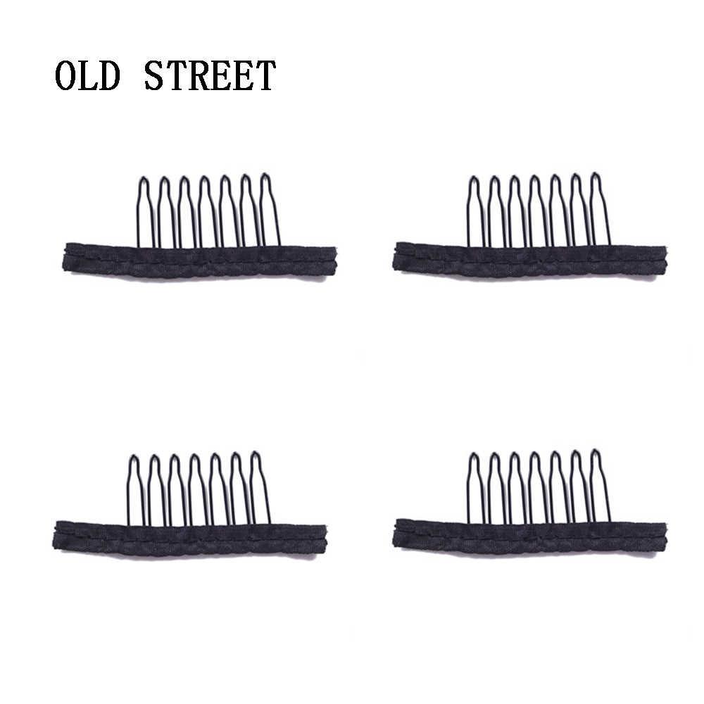 7 зубов черного цвета Цвет проволочный парик расчески Пластик зажимы удобный для волос Полное Кружево парики аксессуары Инструменты для укладки 5 шт./лот
