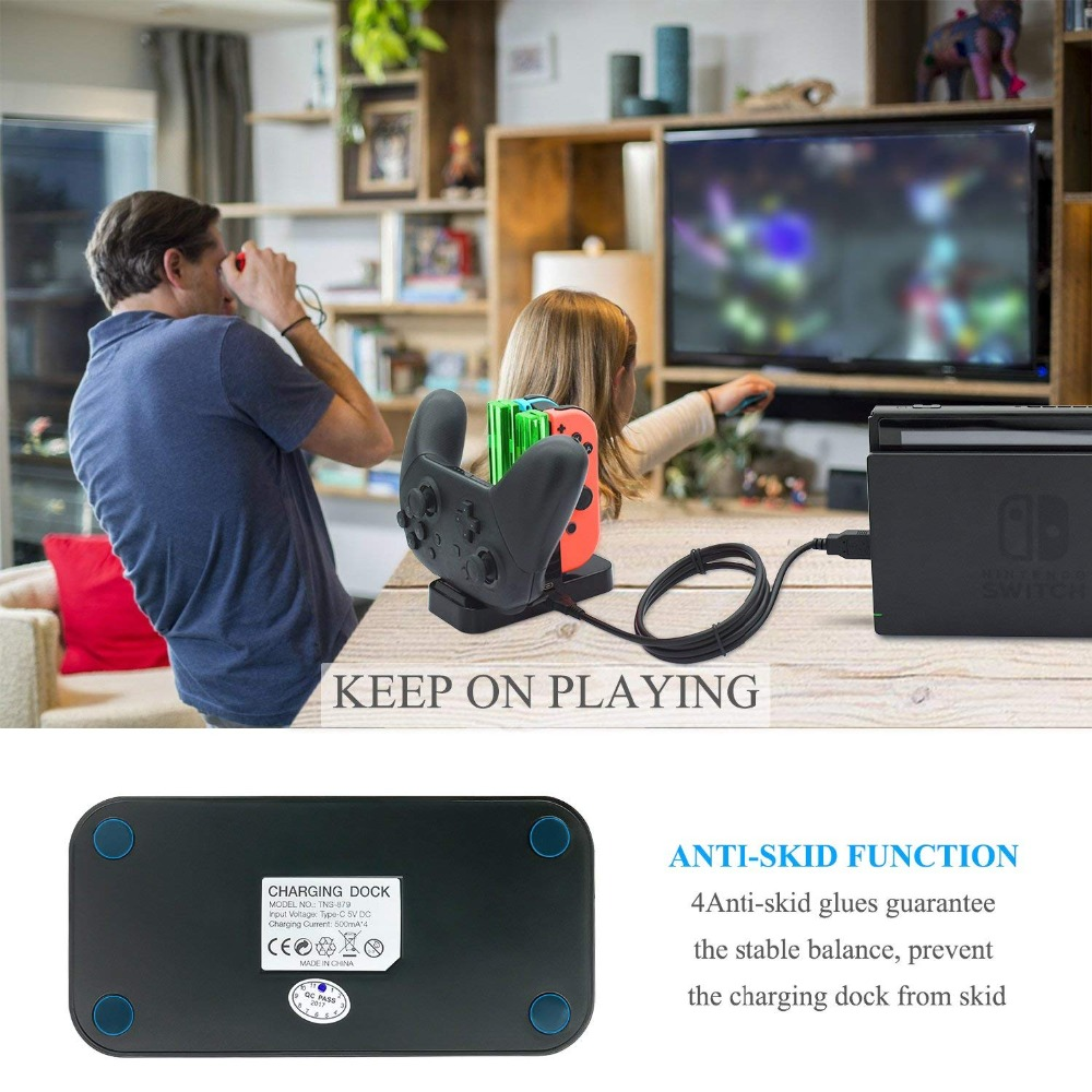 Купить с кэшбэком Controller Charger for Nintend Switch, Charging Dock Stand Station for Switch Joy-con and Pro Controller with Charging Indicator