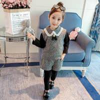 Dziewczyny dres ubrania dla dzieci 2 sztuk zestawy odzieżowe zima dziewczyny księżniczka strój bożonarodzeniowy zimowe ubrania dla dzieci kamizelka + spodnie 2-8Y