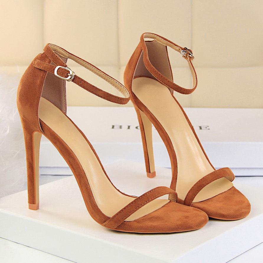 HTB1NpQ0vER1BeNjy0Fmq6z0wVXaA 2019 Women Size 40 Flock Extreme 11cm High Heels Fetish Sandals Female Gladiator Cheap Strap Shoes Lady Nude Valentine Red Pumps