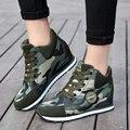 Женская мода повседневная зеленый Камуфляж обувь Женская 6.5 СМ Увеличение Высоты Обувь Женщина Платформы Мокасины Холст Обувь Одного