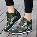 Fashion Women casual Camouflage green shoes Female 6.5CM Increased Height Shoes Woman Platform Loafers Canvas Single Shoes