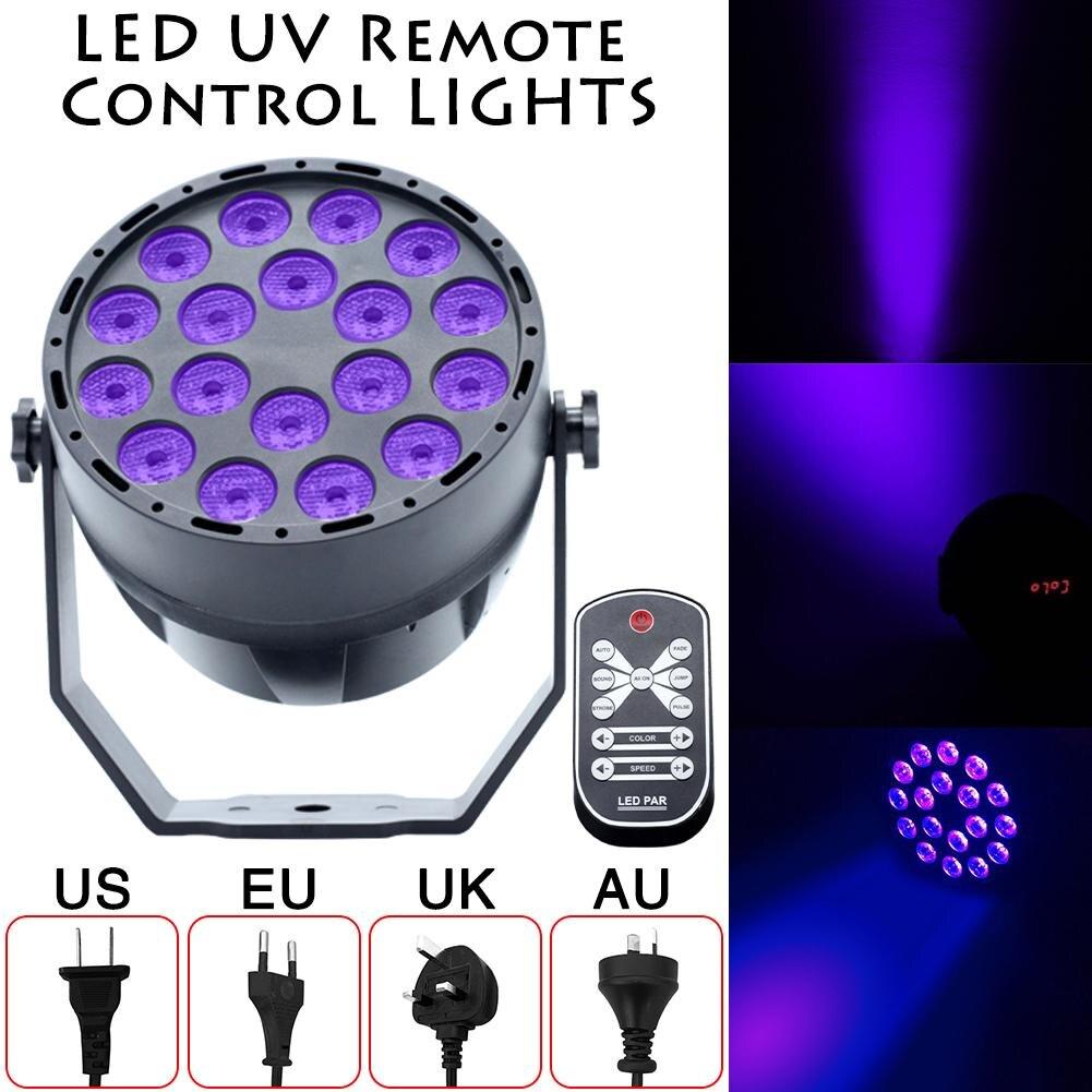 UV Led Stage Light Black Light Par Light With Remote Sound Active 18 LEDs Auto DMX Spotlight Lamp for Disco DJ Club Show 40 pro svet light psl led uv 18 dmx