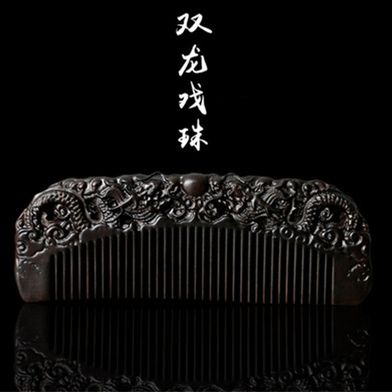 все цены на Professional Health Care Comb Anti-static Massage Black Sandalwood Comb Handmade Hair Brush Wedding/ Birthday Gift Freeshipping
