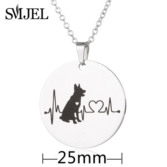 SMJEL ECG Necklaces Stainless Steel German Shepherd Charm Necklaces Animal Dog Electrocardiogram Jewelry Veterinary Gifts