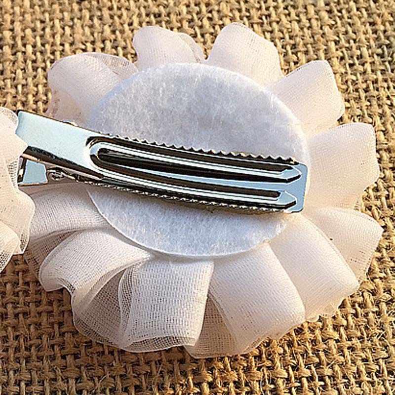 2 cái Bleum Trang Chủ Chất Lượng Cao công chúa hoa trắng Barrettes Tóc Ngắn Cô Gái Cặp Tóc cô gái silk flowers Tóc Phụ Kiện
