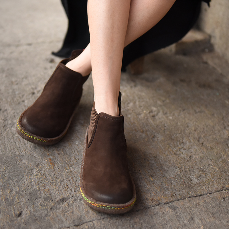 Artmu 2017 Women Boots,Fashion Chelsea Boots,Ankle Vintage Cowhide Boots Flat Casual Chelsea Boots Female Shoes Black Brown