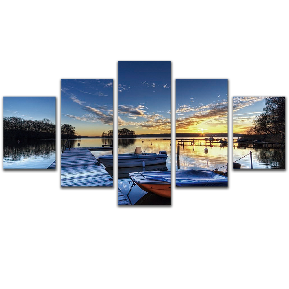 Unframed 5 HD Canvas Prints Lake Sunset Giclee Modular Picture Prints Wall Pictures For Living Room Wall Art Decoration