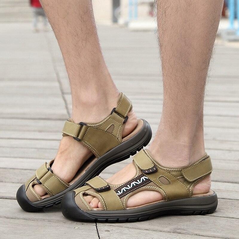 Summer men sandals new trend hook&loop Baotou sandals men casual shoes comfortable non-slip men shoes leather sandalet