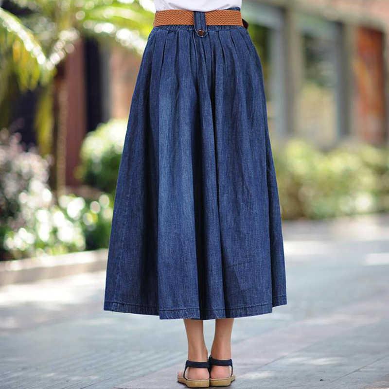 Faldas de talla grande para mujer, Faldas vaqueras de verano, falda larga Harajuku de cintura alta, Falda vaquera fina azul de alta calidad sin cinturón 5XL 6XL