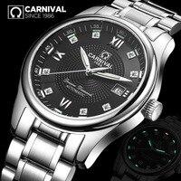 Скелет часы Лидирующий бренд карнавал модные автоматические часы для мужчин календари Тритий самосветящиеся 30 м водонепроница