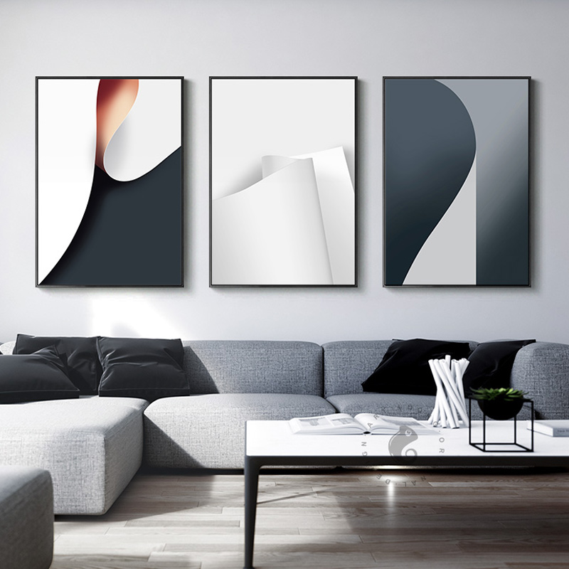 Industrial decor paper roll canvas painting wall art for - Modern dining room wall decor ...