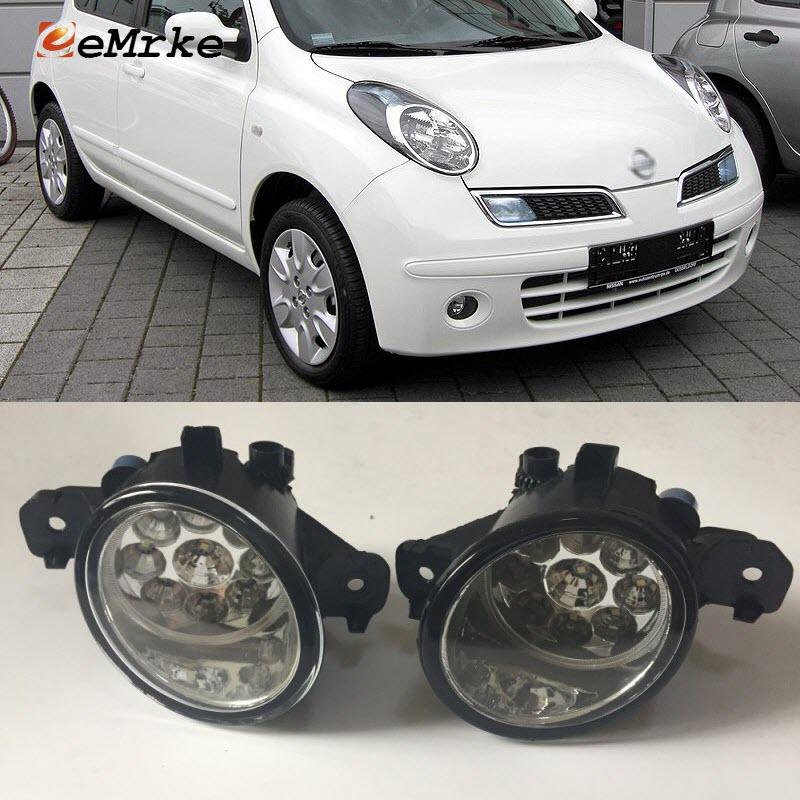 EEMRKE For Nissan March Micra K12 K13 2005-2017 9-Pieces Led Halogen Fog Lights 12V 55W Fog Head Lamp Car-Styling halogen fog lamp for nissan terrano 2005 2015 12v 55w fog lamp front fog lamp