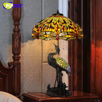 FUMAT Crane Tiffany Table Lamp Creative Art Stained Glass Lamp Living Room Bedside Lamp Home Decoration
