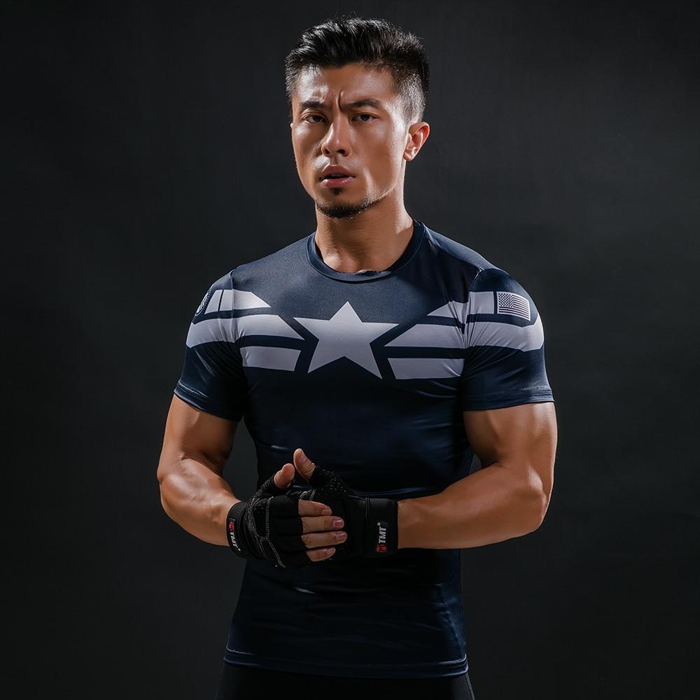 Fashion New Comic Superhero Compression Shirt Captain America Iron man Fit Tight G ym Bodybuilding T Shirt