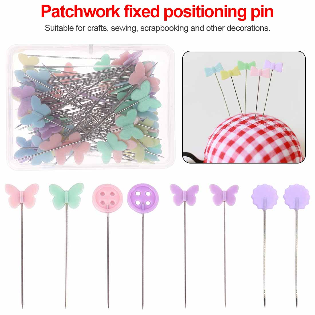 1 Box Butterfly Pins Patchwork Sewing Hand Crafts Accessories Tools Needles 100x