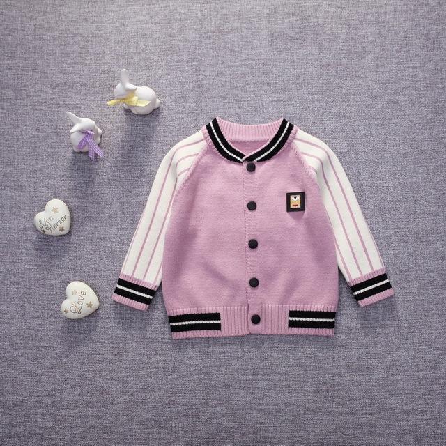 Brasão 2016 nova primavera outono crianças do bebê das meninas do bebê casaco casuais jaquetas de beisebol do bebê coelho listrado recém-nascidos de Malha cardigan