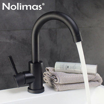 304 Stainless Steel Black Tall Bathroom  Faucet Brass Ceramic Plate Spool Basin Mixer Tap With Hot And Cold Water Deck Mounted