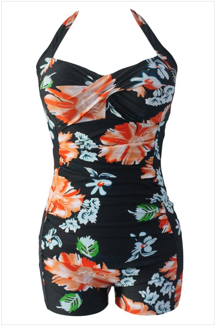 Vintage One Piece Swimwear Women Print Floral Polka Dot Swimsuit Retro Plus Size ...