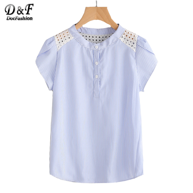 eaa41874cbb4f6 Dotfashion Blue Eyelet Embroidered Lace Petal Sleeve Blouse Short Sleeve  Striped Button Top 2019 Summer Women Blouse -in Blouses & Shirts from  Women's ...