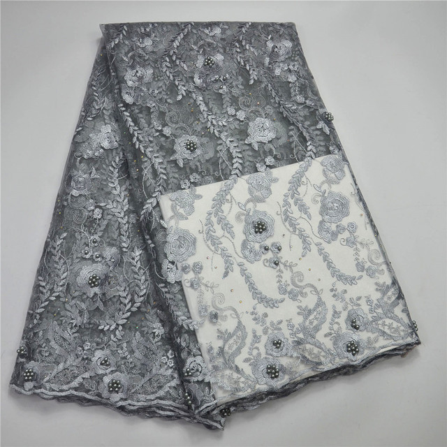 Grey Lace Fabric Sewing Supplies Wholesale French Net Embroidery