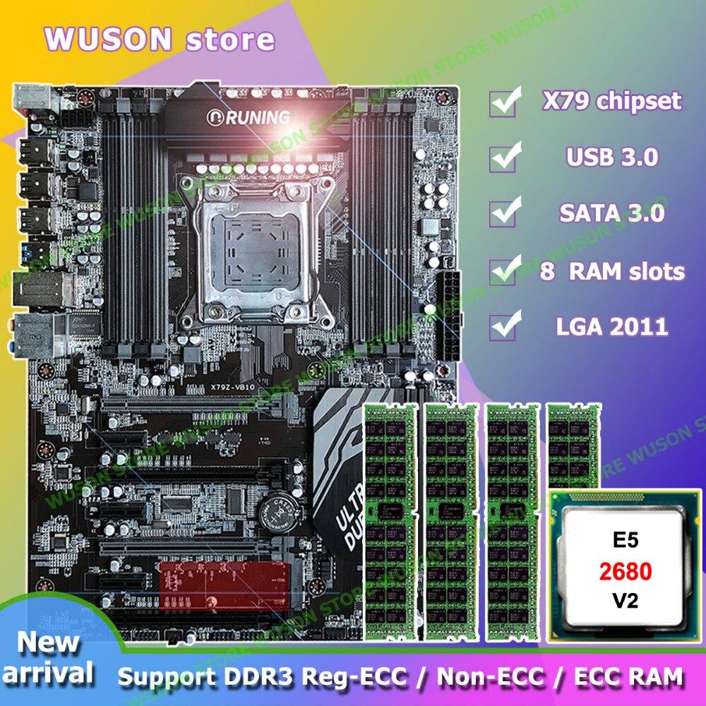 Скидка материнская плата бренд Runing Super ATX X79 материнская плата 8 ram Слоты Intel Xeon E5 2680 V2 SR1A6 оперативная память 4*16 г 1866 мГц DDR3 RECC