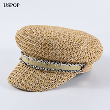 USPOP 2019 New women straw newsboy caps female spring hats  military new design flat top visor