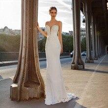 Eightree Elegant Backless Bling Mermaid Wedding Dress 2019 V Neck Appliqued Sexy Back Design Slim Bridal Sequined