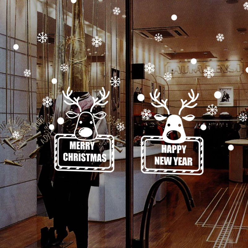 Merry christmas deers snowflake shop window glass wall for Christmas home decor stores