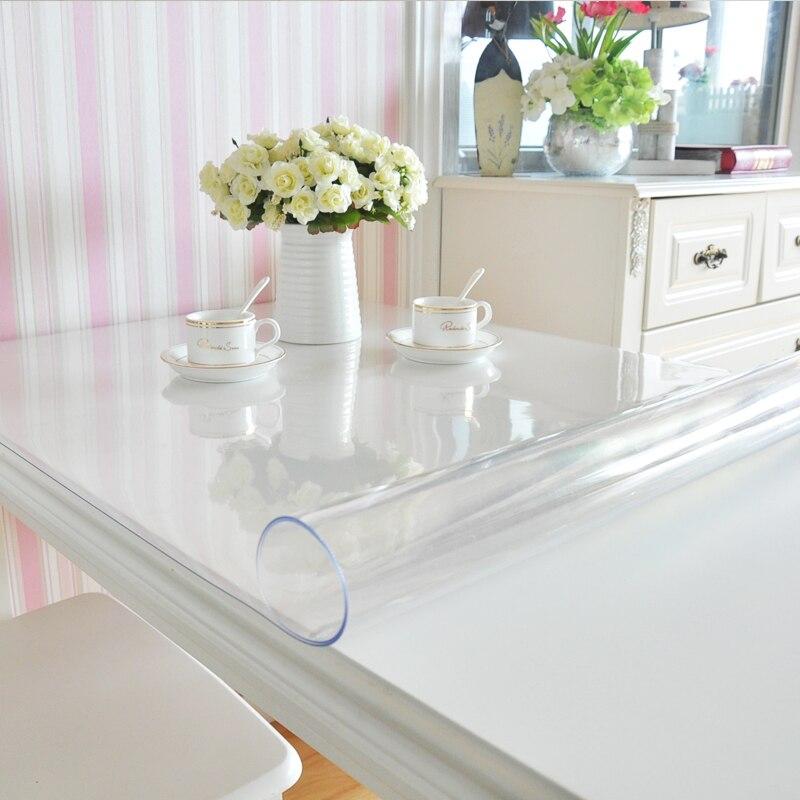 PVC en verre doux nappe étanche Anti-chaude En Plastique nappes Table tapis Café tapis Transparent plaque de cristal livraison gratuite