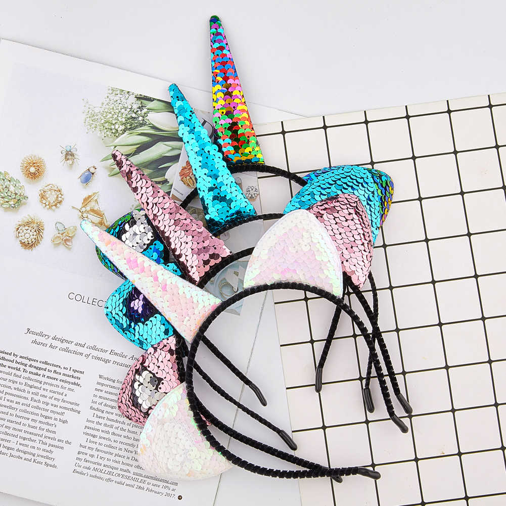 Fioday Unicorn Cat Ears Bezel for Girls Sequins Hairband Headband for Women Rims Children Party Gifts Hair Hoops Accessories