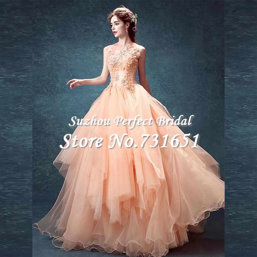 Hot Sale Vintage Peach Ball Gown Prom Dresses Tulle O Neck Zipper ...
