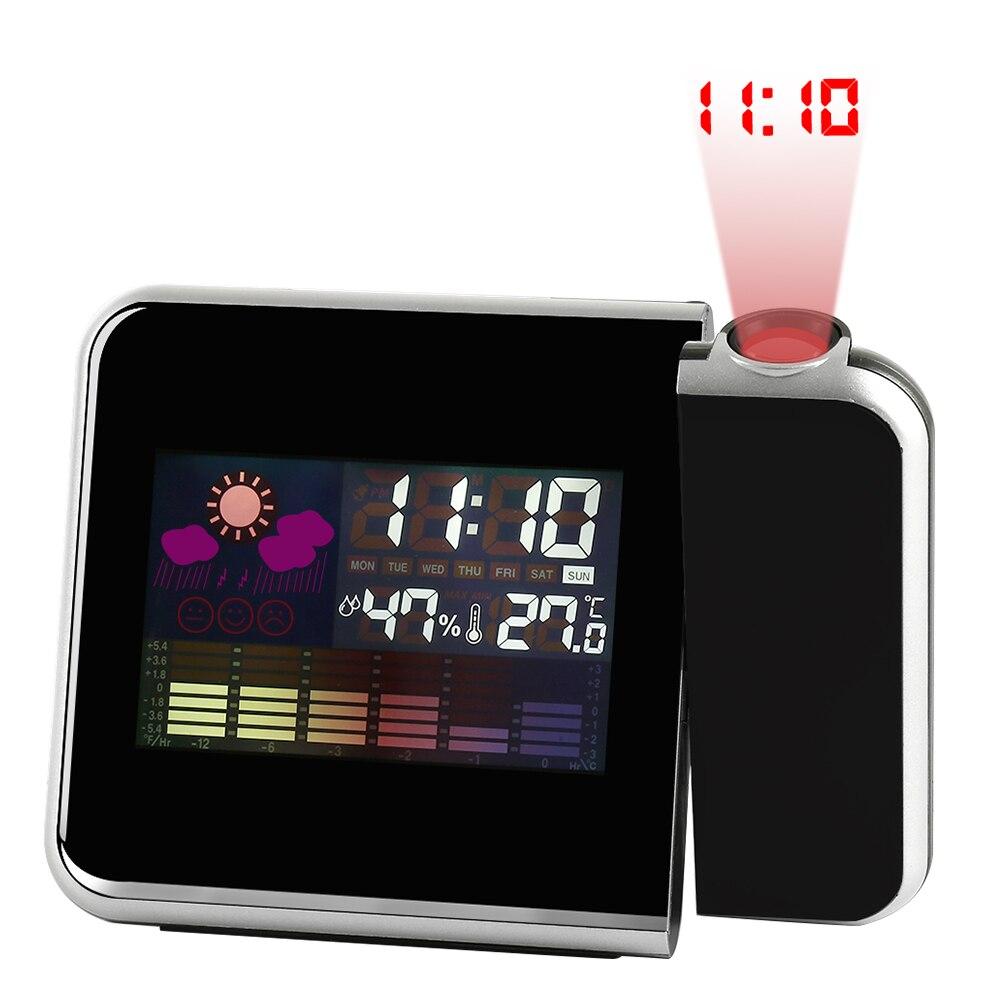Projeção LCD Relógio Despertador Snooze Exibição Digitial Relógio Tempo Calendário Temperatura Relógio Relógio de Mesa Criativa Cozinha de Casa