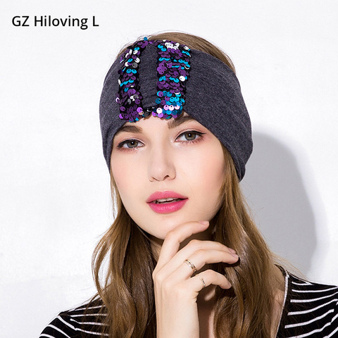 Nova as Meninas para Mulheres de Largura de Algodão Acessórios de Cabelo Gzhilovingl Sequin Headband Moda Elastic Glitter Headbands Turbante Mulheres Adulto