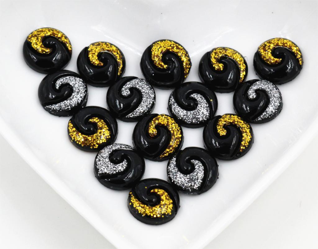 Новая мода 40 шт. 12 мм смешивания цвета черный и белый золото Тай Чи Тип плоской задней смолы кабошоны Камея