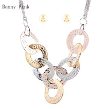 Chunky Metal Link Chain Pendant Necklace Earrings For Women Big Hammered Statement Chain Necklace Fashion Jewelry Set Colliers