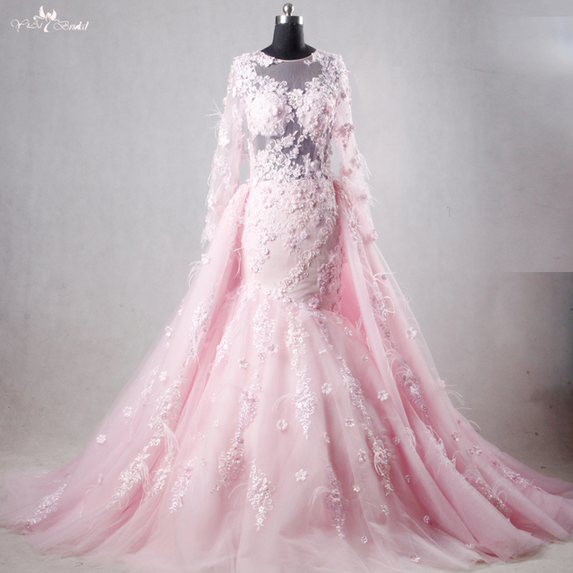 Rsw1112 Real Pictures Yiaibridal Long Sleeve Mermaid Pink Wedding Dress Detachable Train