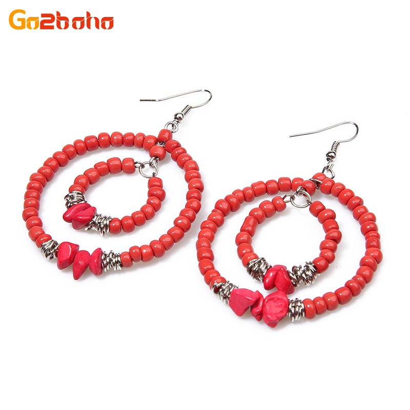 Go2boho New China Ethnic Double Earrings Love Handmade Beaded Woven Earings Trendy Boho Red Ear Rings 2018 Party Fashion Jewelry