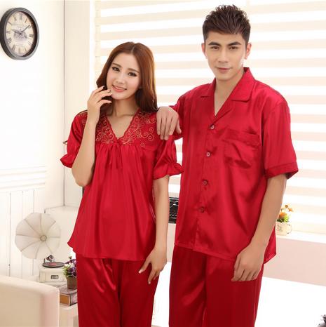 Parejas Satén Camisones Pijamas Set Moda Amantes Ropa de Dormir Pijamas de Verano de Manga Corta de Encaje Bordado Borgoña Champngne